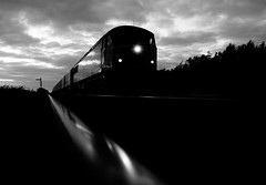 Nearly There (Wulfruna) Tags: 6e07 grid 56078 colas steel freight railway diesel locomotive bostonsteel uk england hubbertsbridge semaphore signal lincolnshire reflection railhead blackandwhite