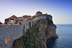 A walk along the wall (Jocelyn777) Tags: landscapes seascapes cityviews walls citywalls historictowns oldtown starigrad adriaticsea stones buildings architecture water sea sunset dubrovnik croatia balkans travel