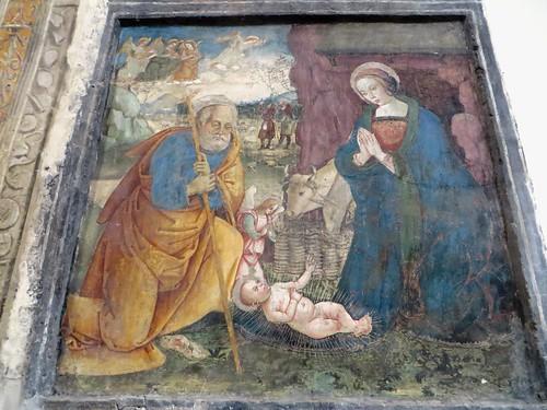 """""""La Sainte Famille"""", fresque (XVIe), chœur des religieuses, ancienne église gothique de Santa Maria Donnaregina Vecchia, Naples, Campanie, Italie."""