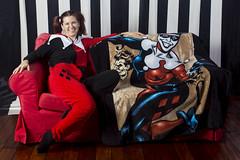 Day 4311 (evaxebra) Tags: wh wah stripes harley quinn harleen quinzel red black throw blanket batman villain twin twins pajamas pjs couch