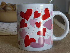 "A lovely ""good morning""!!  P1040970 (amalia_mar) Tags: crazytuesday favouritemug cup hearts cœurs redpurplewhite love lovely goodmorning coffee tea break dreams smile chocolate details stilllife favouritecoffeeteamug sundaylights"