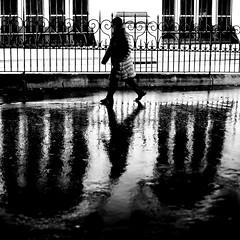Between both windows (pascalcolin1) Tags: paris13 femme woman pluie rain reflets reflection nuit night fenetres windows photoderue streetview urbanarte noiretblanc blackandwhite photopascalcolin 50mm canon50mm canon