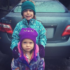 Mornings With The Munchkins (matthewkaz) Tags: madeleine norah daughter daughters child children sisters hat hats funnyface home house rain burcham eastlansing michigan 2018 car toyota camry