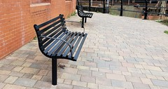 Back To Brentford For A Couple Of  Metal Seats (standhisround) Tags: benchmonday bench seats seat metalseats path brentford westlondon london england uk hbm wall bricks railings brentforddocks