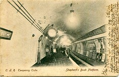 Shepherd's Bush tube station, London, circa 1903 (The Wright Archive) Tags: shepherds bush tube underground station london postcard 1903 centrallondonrailway clr twopennytube central line platform people passengers commuters tunnel advertising posters social history uk transporthistory lostlondon londonscene londonstreets londonhistory wright archive subway metro