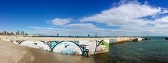 """Grafiti y pescadores"" (atempviatja) Tags: barcelona bogatell pescadores grafiti nubes cielo mar paseo maritimo azul paisaje playa"