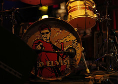 The Red Elvises (1) (momentspause) Tags: drums canon5dmkiii canon50mmf18 niftyfifty availablelight ambientlight redelvises houston