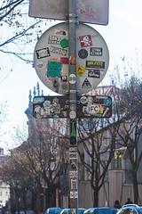 (nicolee.camacho) Tags: porto oporto portugal europe tourism tourist clerigos baixa aliados downtown galerias street art stickers sticker urban post sign streets