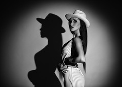 Ladies (Pawel Wietecha) Tags: girl woman lady model studio light new art emotions portrait eyes look face hair pretty beauty glamour people makeup style dark pawel wietecha femme fille dame beauté belleza dama niña bellezza signora ragazza belle sexy erotic blackandwhite bw mono monochrome blanc weis schwarz noir black white blackwhite hat shade shadow circle