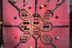 Ace! (VauGio) Tags: tennis ace racchette racchetta leicax1 leica shopwindow shop negozio vetrina palla ball balls palle rosa torino turin occhiali glasses