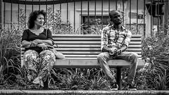Two on a bench in Nice, France 8/9 2014. (photoola) Tags: nice promenadedupaillon bänk sv bench photoola monochrome blackandwhite france