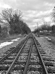 The Railroad Tracks (B&W) (neukomment) Tags: autumn fall november adamichigan usa bw blackandwhite railroad tracks