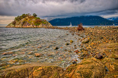 Sunset at Whytecliff Park (William Horton Photography) Tags: bowyerisland britishcolumbia canada horseshoebay horseshoebaypark pacific vancouver westvancouver whytecliffpark afternoon bay breach cloudy coast foggy horizontal islet landscape ocean rocks rockybeach sailboat sea stormy water