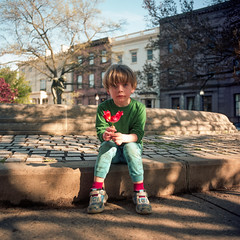 (patrickjoust) Tags: mamiya c330 s sekor 55mm f45 kodak ektar 100 tlr 120 twin lens reflex medium format 6x6 c41 color negative film manual focus analog mechanical patrick joust patrickjoust baltimore maryland md usa us united states north america estados unidos urban street city people person llewelyn kid boy child sitting fountain square row house home park flower trees mt mount vernon