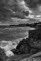 high tide at Bulloch (Wendy:) Tags: bulloch hightide waves sky niksilvereffects mono clouds rocks steps dalkey sea caastle harbour