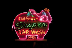 Elephant Super Carwash neon sign Seattle, WA (the art of neon signs) Tags: vintage neon signs neonsign roadsideamerica johnbarnesphotography culturalheritage elephantcarwash seattle americanfolkart theartofneonsigns