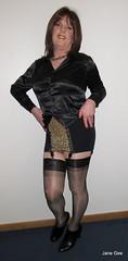 Save the Leopard (janegeetgirl2) Tags: transvestite crossdresser crossdressing tgirl tv ts trans jane gee stockings heels ankle boots leopard animal skin black satin blouse rht corset girdle