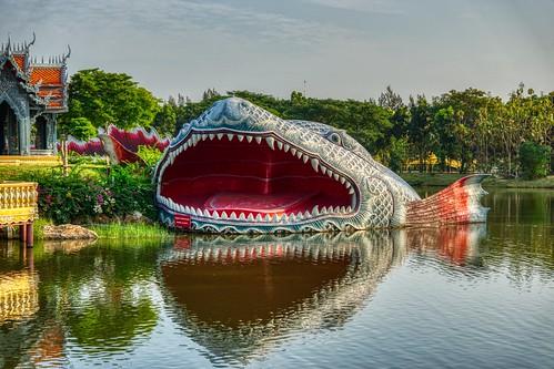 Fish sculpture surrounding Sumeru Mountain in Muang Boran open air museum in Samut Phrakan, Thailand