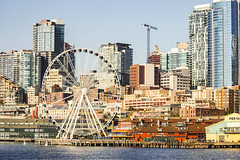 Seattle-Bainbridge Ferry-27 (_futurelandscapes_) Tags: none seattle bainbridgeisland ferry washington transit boat water cityscape skyline autumn sunny bluesky clear bright calm travel vacation city spaceneedle highrise industrial waterfront pier pikeplace