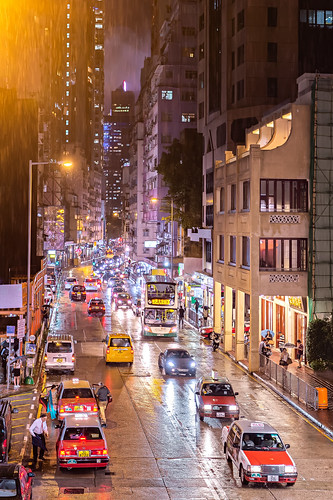 Rainy Night at Queen's Road East, Hong Kong