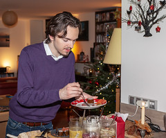 First tasting of the Christmas buffet (jpergunnar) Tags: jonathan food family christmas holiday peoplefamily