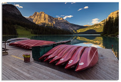Canoes for hire (.Wadders) Tags: emeraldlake yohonationalpark britishcolumbia canadianrockies mountains water caneo