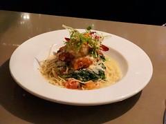 Dungeness crab stuffed prawn pasta (sarahstierch) Tags: fishhopper monterey california dining food eating pasta dungeness crab prawns spinach tomato angel hair seafood
