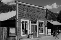 Miners Exchange (Patricia Henschen) Tags: chaffeecounty sawatch range mountains mountain aspen autumn fall color gold silver mine mines mining ruins ghosttown stelmo mtprinceton chalkcreek nathrop colorado canyon sanisabelnationalforest leafpeeping fallcolor county road backroad clouds minersexchange countyroad162 chaffee monochrome blackwhite buildings