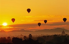 Sunrise and Balloons - Bagan, Myanmar (JR Marquina) Tags: landscape explore southeastasia bagan myanmar ngc
