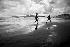 Happiness comes in waves... (Jordan_K) Tags: bw beach brazil people scenic scene rainydays love black life mood cinematic