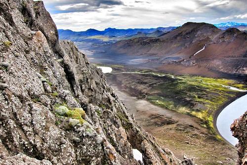 Republic of Iceland ~ Landmannalaugar Route ~  Ultramarathon is held on the route each July ~ L~ Landmannalaugar Route ~  Ultramarathon is held on the route each July ~ Lava rock & River