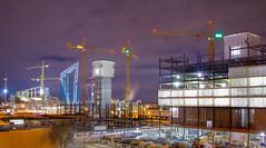 Downtown East Construction, Minneapolis, MN (Chad Davis.) Tags: minneapolis downtowneast construction cranes skyskrapers cityscapes longexposure nightshot stadium metrodome usbankstadium minnesota vikings minnesotavikings