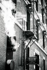 Hot and Cold (rg69olds) Tags: 1192019 40mm 5dmk4 canoneos5dmarkiv nebraska sigma40mmf14artdghsm art canon oldmarket omaha primelens sigma bw blackandwhite beginnersdigitalphotography steam airconditioners hotandcold building brick fireescape 40mmf14dghsm|a