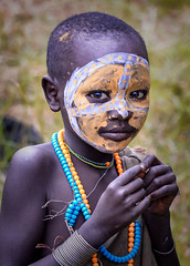 Suri Girl (Rod Waddington) Tags: africa african afrika afrique ethiopia etiopia ethiopian child girl suri tribe tribal culture cultural outside painted face beads