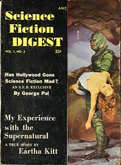 Science Fiction Digest Vol. 1, No. 2 (1954). Digest size. Movie tie-in. Photo cover with the Creature From the Black Lagoon (lhboudreau) Tags: magazine magazines magazinecoverart magazinecover magazinecovers coverart sciencefictiondigest volume1number2 1954 gillman creaturefromtheblacklagoon costume monstercostume rubbercostume creaturecostume creature blacklagoon sciencefiction bookcover bookart photocover movietiein digest digestsize universalinternational damselindistress ladyinperil helplesswoman monster creaturefeature georgepal myexperiencewiththesupernatural earthakitt pulp pulpfiction pulpart motionpicture movie