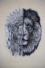 Lion (HBA_JIJO) Tags: streetart urban paris animal art france hbajijo wall mur collage pasteup wheatpaste paper lion urbain ardif