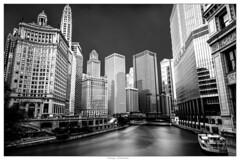 Chicago - Downtown (Oguzhan Amsterdam) Tags: chicago river downtown usa black white bw monochrome mono neutral density nd long longexposure longshuttertime exposure travel oguzhan photography lee leefilter 15stops outdoor urban cityscape skyline trump building nikon nikond800 nikkor2470