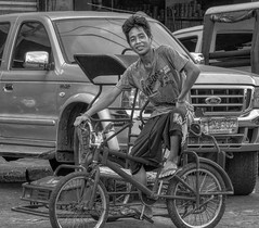 Big Boss (Beegee49) Tags: boss street pedicab tricycle driver transport public panasonic fz1000 bacolod monochrome blackandwhite bw city philippines asia asian portrait smiling boy young man