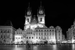 Church of Our Lady before Týn (campmusa) Tags: prague czechrepublic church ourladybeforetýn architecture alstate oldtown oldtownsquare blackandwhite nightshots nightscape nightlights landscapes citylights cityscape