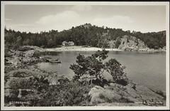 Postkort fra Agder (Avtrykket) Tags: strand badende båt postkort pram strandhus grimstad austagder norway nor