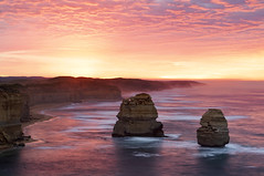 The 12 Apostles - Australia (Dapper snapper) Tags: great ocean road victoria australia twelve apostles 12 sunrise rocks coast sea fret fog red cliffs oz waves surf blur erosion beach coastline rocjs melbourne hiking adventure