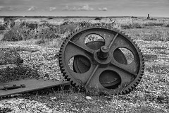 Gear Wheel (1) (Dungeness)-03282 (G.K.Jnr.) Tags: landscape historic foliage vegetation gearwheel deserted desolate discarded sea seaside coastline beach shingle outdoor sky scenic interest touristattraction monochrome bw blackandwhite blackwhitephotos rural dungeness romneymarsh kent unitedkingdom fujix apsc xh1 cog metal