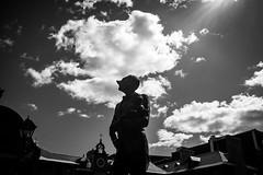 Montreal monochrome (vinnie saxon) Tags: urban sculptures statue backlight monochrome montreal bw silhouette sky fujifilm clouds pov