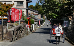 Japan: Miyajima island street scene (Henk Binnendijk) Tags: miyajimaisland hatsukaichi hiroshima japan daishoin shingonbuddhism riksja rickshaw