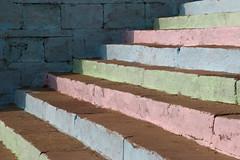 Colorful stairs ... (Varanasi) (Zé Eduardo...) Tags: stairs colors blue pink green wall varanasi ganges banks india asia lines shadows urban city town