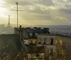 (Nick White2009) Tags: eiffel tower paris rooftops sun cloud france city cityscape view building urban montmarte sacre couer hill