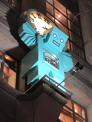 Blue Robot Atlas Holding Up Clock above Tiffanys 8996 (Brechtbug) Tags: blue robot atlas holding up clock above tiffanys entrance way gargoyle statue new york city 01012019 atlantids atlantid jewelry store 5th avenue near 57th street nyc east side manhattan midtown sculpture 2019 zodiac belt fig leaf tiffany christmas decor decorations exterior facade festive