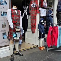 Holiday Attire (Esther Spektor - Thanks for 12+millions views..) Tags: scotland edinburgh shop clothing mannequin costume kilt door display rack entrance fashion style shopping estherspektor canon tartan