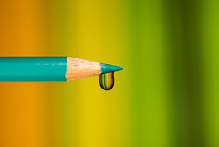 Droplet of Liquid (syf22) Tags: water droplet liquid rainbow element fluid matter volume particles atoms intermolecularbonds colour colourful pencil creative