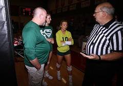 IMG_3171 (SJH Foto) Tags: girls high school volleyball bishop shanahan hempfield state pool play championships canon 1018 f4556 stm superwide lens pregame ceremonies ref referee captains coin toss huddle cheer